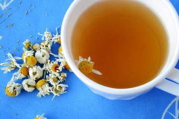 Chamonile tea and dried flowers