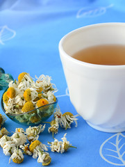 Chamomile tea with dried chamomile flowers