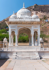 White marble Hindu cremation pavilion at Jaipur's Gaitore comple