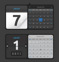 Vector Black Calendars
