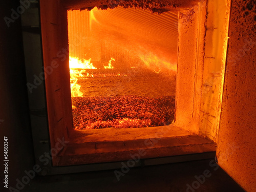 In de dag Vuur / Vlam fire the combustion of biomass in the form of pellets in the boi