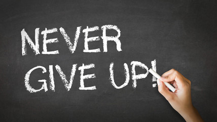 Never Give Up Chalk Illustration