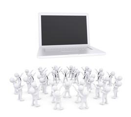 Group of white people worshiping laptop