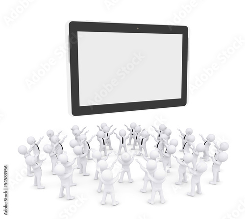 Group of white people worshiping tablet PC