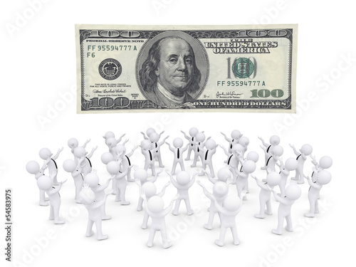 Group of white people worshiping dollar banknote