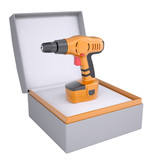 Electric screwdriver in open gift box