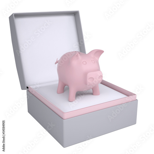 Piggy bank in open gift box