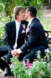 Gay Wedding Couple - Outdoor Kiss