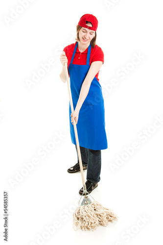 Teen Worker Mopping - Full Body