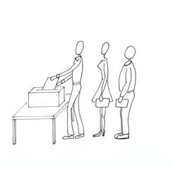 Personen wählen an der Wahlurne