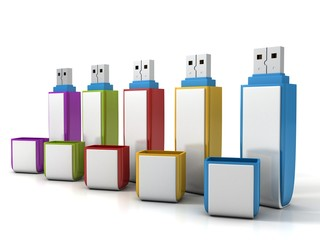 set of colorful usb flash drive memory on white background