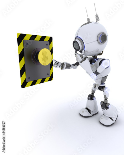 Robot pushing a button