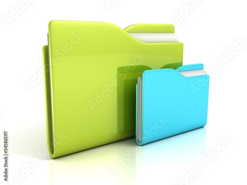 green and blue folders with documents icon concept