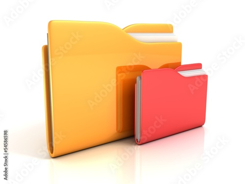 office documents folders yellow red icon on white