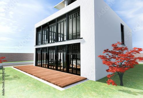 Haus mit Dachterrasse in weiß
