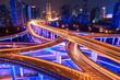 Leinwandbild Motiv colorful overpass at night