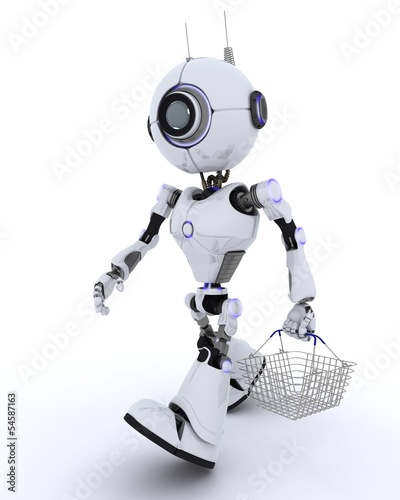 Robot with a shopping basket