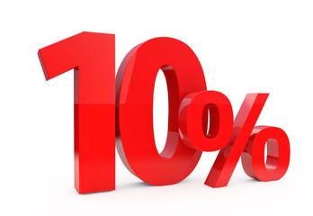 10 percent in red letters on a white background