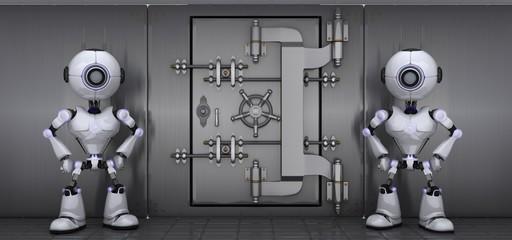 Robots guarding a vault