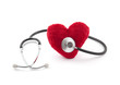 Medical stethoscope with red plush heart