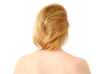 Rear view head and shoulders, blond caucasian woman