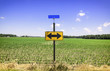 Directional arrow road sign
