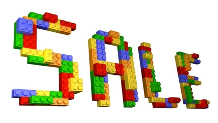 SALE Lego - Isolated Straight Wording Constructed from Bricks