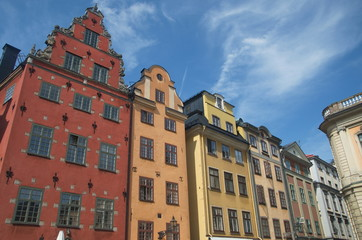 Stortogetm typical houses in Gamla Stan,  Stockholm