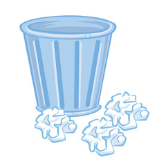 Trash Can and paper isolated illustration