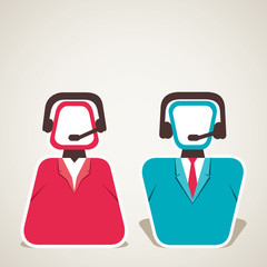 call center worker male and female icon vector