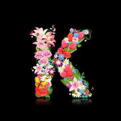 Romantic letter of beautiful flowers K