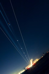 light trail of aircraft while landing