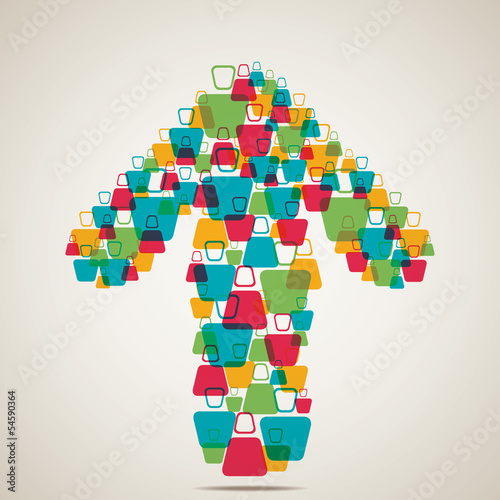 colorful men make arrow shape vector