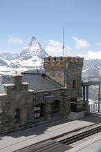 Gornergrat railway station in Swiss Alps