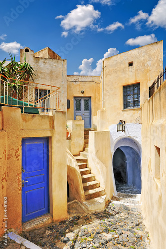 Beautiful narrow alley in Pyrgos village