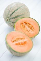 Still life fruits: cantaloupe melon