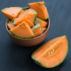 Still life food: sliced cantaloupe melon