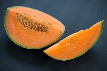 Sliced cantaloupe, horizontal shot