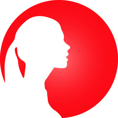 Rundes Icon mit Frau Silhouette
