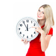 time concept. five to twelve. young beautiful woman with big clo