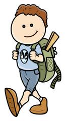 Kid Going to School - Vector Cartoon Illustration