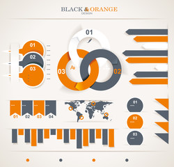 Retro infographics set. World Map and Information Graphics.