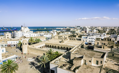 View from the heights over the port and the Medina of Sousse Tun