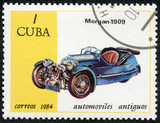 stamp printed in the CUBA, shows car Morgan 1909