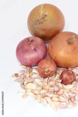 onions and garlic on white