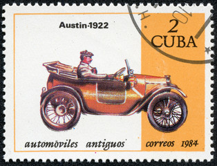 stamp printed in Cuba shows a vintage car