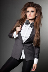 elegant fashionable woman with bow-tie