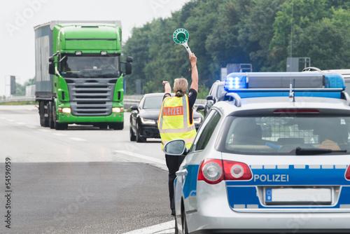 Leinwanddruck Bild Fahrzeugkontrolle der Polizei