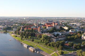 Wawel Schloss an der Weisel in Krakau Luftaufnahme