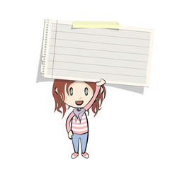Girl holding a note paper on white background.